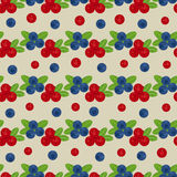 Cranberry and blueberry seamless pattern 3. Or illustration of cowberry and blackberry. Berries seamless pattern Stock Photos