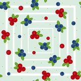 Cranberry and blueberry seamless pattern 2 Stock Images