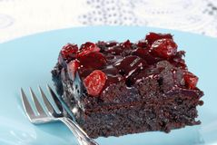 Cranberry brownie with a fork Stock Photos