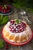 Cranberry cake decorated with powdered sugar and fresh berries f Royalty Free Stock Images