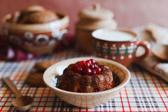 Cranberry cake on the plate in kitchen Royalty Free Stock Image