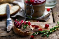 Cranberry Chicken Liver Pate. Selective focus stock images