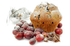 Cranberry chocolate muffin Royalty Free Stock Images