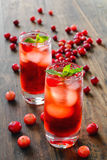 Cranberry cocktail with ice Stock Photos