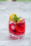 Cranberry cocktail with ice and mint Royalty Free Stock Images