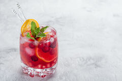 Cranberry cocktail with ice and mint Stock Image