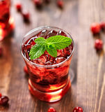 Cranberry cocktail with mint garnish. Close up photo of a cranberry cocktail with mint garnish Royalty Free Stock Photos