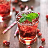 Cranberry cocktail with mint garnish. Royalty Free Stock Image