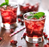Cranberry cocktail with mint garnish. Stock Images
