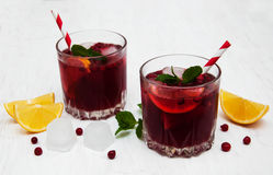 Cranberry cocktail with mint Royalty Free Stock Photo