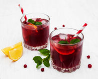 Cranberry cocktail with mint Royalty Free Stock Photos