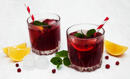 Cranberry cocktail with mint Royalty Free Stock Images