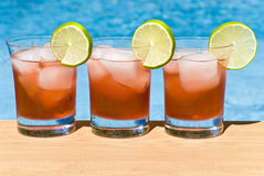 Cranberry Cocktail by the Pool Royalty Free Stock Image