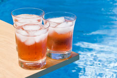 Cranberry Cocktail by the Pool Stock Image