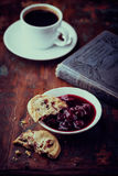 Cranberry cookies with cherry marmalade Royalty Free Stock Image