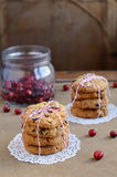 Cranberry cookies decorated with red and white twine and fresh b Stock Images