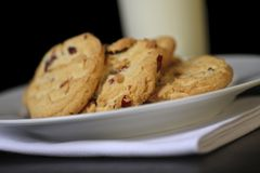 Cranberry cookies and milk Royalty Free Stock Photo