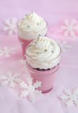 Cranberry dessert with whipped cream Stock Photos