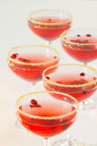 Cranberry drink. Five glasses of cranberry drink on white background royalty free stock images