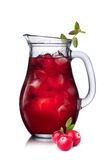 Cranberry drink (mors) isolated on white Royalty Free Stock Photo