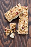 Cranberry energy bar Royalty Free Stock Images