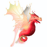 Cranberry Faerie Dragon. A creature of myth and fantasy the dragon is a friendly animal with horns and wings Royalty Free Stock Photography