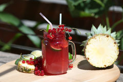 Cranberry fresh juice with pineapple Royalty Free Stock Image