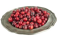 Fresh cranberry on an old metal plate, on white background. Cranberry, a healthy fruit with healing properties. A metal plate with cranberries in a big close-up stock photography