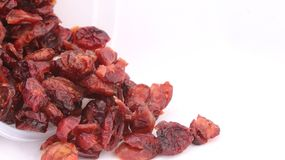 Cranberry, healthy snack. The dried cranberries retain much less nutrients than the fresh & x28;notably dietary fiber and antioxidants& x29;. However, industrial stock image
