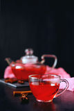 Cranberry herbal hot tea drink in glass teapot with cinnamon and. Star anise spice on black backdrop Royalty Free Stock Photography