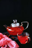 Cranberry herbal hot tea drink in glass teapot with cinnamon and. Star anise spice on black backdrop Stock Photography