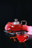 Cranberry herbal hot tea drink in glass teapot with cinnamon and. Star anise spice on black backdrop Royalty Free Stock Photos