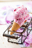 Cranberry ice cream. Royalty Free Stock Images