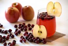 Cranberry Jabłczany sok w szkle Fotografia Stock