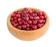 Cranberry jagody w drewnianym talerzu Fotografia Stock