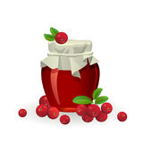 Cranberry jam jar with fresh berry on white Royalty Free Stock Photos