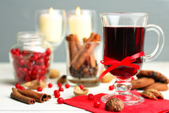 Of cranberry juice in a Christmas composition Royalty Free Stock Photography