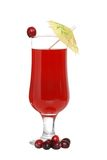 Cranberry juice with cranberries and umbrella Royalty Free Stock Photography