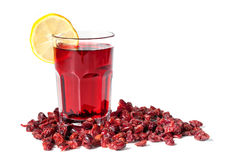 Cranberry Juice and Dried Cranberries Stock Images