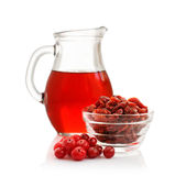 Cranberry juice, fresh berry and dry berry Stock Photo