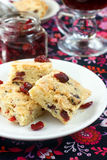 Cranberry and lemon shortbread. With tea Royalty Free Stock Images
