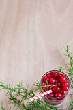 Cranberry lemonade background. Homemade cranberry lemonade with fresh rosemary. Selective focus. Copy space background Royalty Free Stock Photos