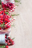 Cranberry lemonade background. Homemade cranberry lemonade with fresh rosemary. Selective focus. Copy space background Royalty Free Stock Images