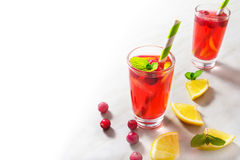Cranberry lemonade decorated with mint with half  backgr Stock Photos