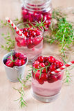 Cranberry lemonade. Homemade cranberry lemonade with fresh rosemary. Selective focus Stock Photography