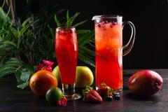 Cranberry lemoniada - lingonberries w owoc na ciemnym tle, dzbanku i szkło i zdjęcie stock
