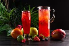 Cranberry lemoniada - lingonberries w owoc na ciemnym tle, dzbanku i szk?o i obrazy royalty free