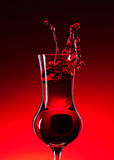 Cranberry liquor. The cranberry liquor on a dark background Stock Photography