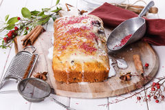 Cranberry loaf over white wooden background Royalty Free Stock Image