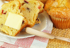 Cranberry Muffin with Butter Stock Images